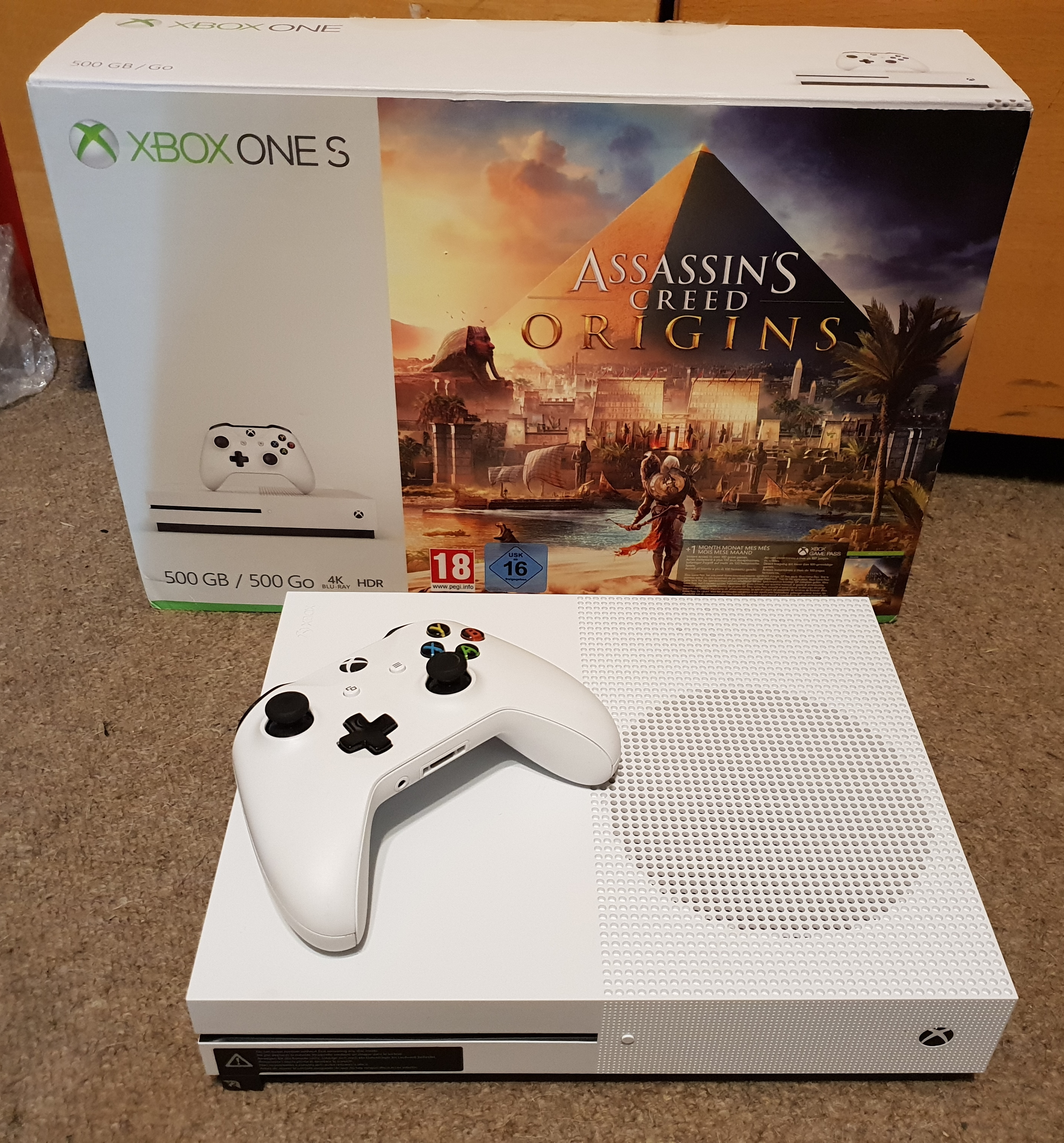Products / Catalog / Xbox / Xbox One / Xbox One S Console White with Assassins Creed Origins 500GB