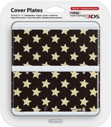 New Nintendo 3DS Coverplate - White Stars on Black