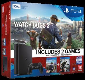 Sony Playstation 4 Slim Console - 500GB Watch Dogs 2 Bundle